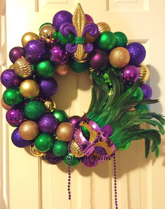 Mardi Gras Ornament Wreath Mardi Gras Wreath by MemphisMomWreaths, www.etsy.com/shop/memphismomwreaths, $68