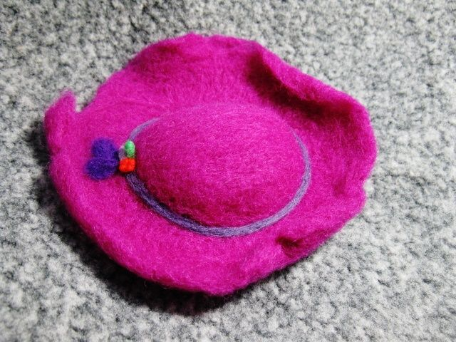 wool felting hat for doll ~ small hat ~ made by: io