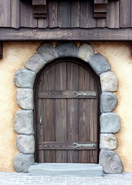 Miniature door - 1/12th scale Hand painted wood grain. Stones are air dry paper clay.