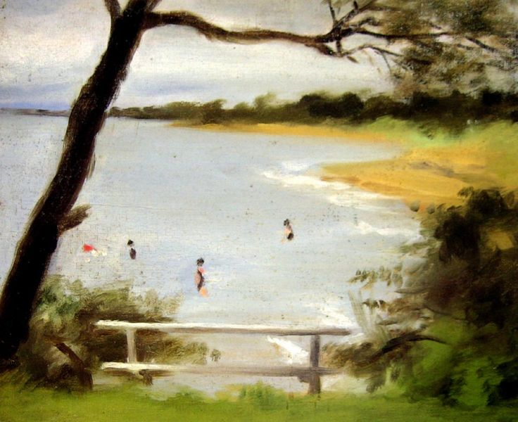 Clarice Beckett, 'Bathers, Beaumaris', c. 1925–1930, oil on canvas on board, 39.2 × 29.5 cm