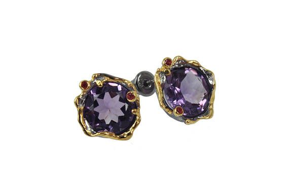 Amethyst and red sapphires studs, Splendid 925 #jewelry #earrings @EtsyMktgTool http://etsy.me/2ySlTb5 #finesilverjewelry #studearrings