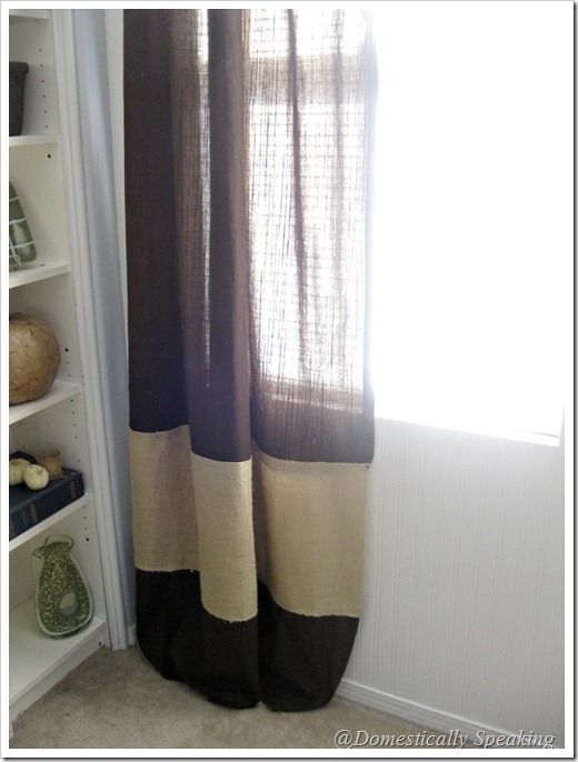 Burlap stripped curtains: Add Colors, Strips Curtains, Master Bedrooms, Burlap Stripes, Stripes Curtains, Brown Ikea, Burlap Curtains Living Rooms, Ikea Curtains, Burlap Easy