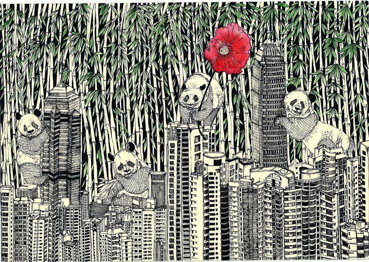 Happy Hong Kong Pandas #illustration #linedrawing #blackandwhite #watercolor #panda