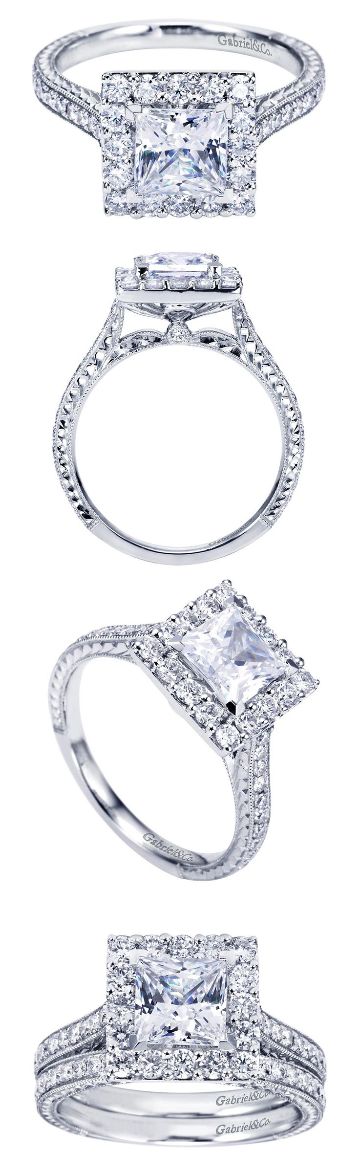 Crown the one you love with this 14k White Gold Contemporary Princess Cut Halo Engagement Ring
