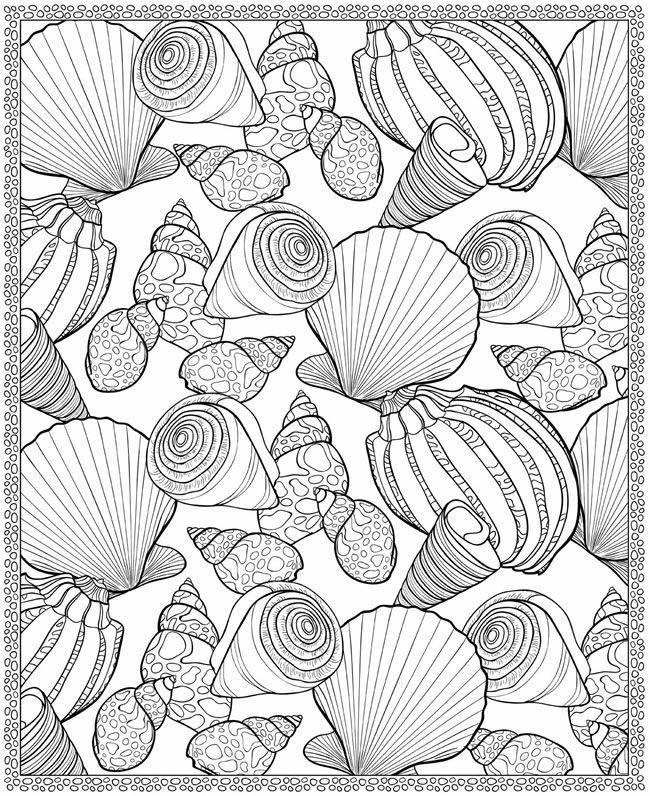 Ausmalbilder / Coloring für Erwachsene - Muscheln fürs Moodboard *** Coloring Pages for Grown ups - Shells for your Moodboard