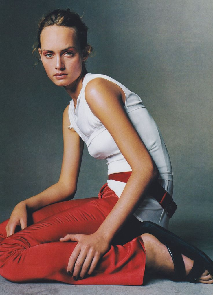 Amber Valletta wears Spring 1997 Helmut Lang in a photograph by Steven Meisel from Vogue, January 1997.