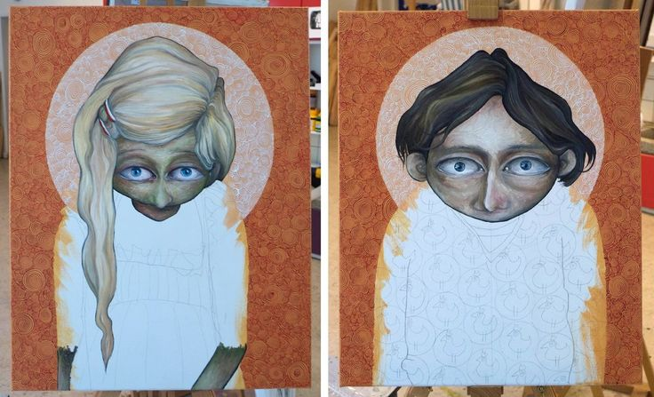 If you start a series of 12 paintings, you can't really imagine it will ever get finished. About a year ago I started these little 'Angels', bases on how my classmates from primary school looked like (in my memory, with a hint of imagination).  This is already a tiny sneak peek of 2 canvases in progress, may I introduce to you: Mirjam and Björn