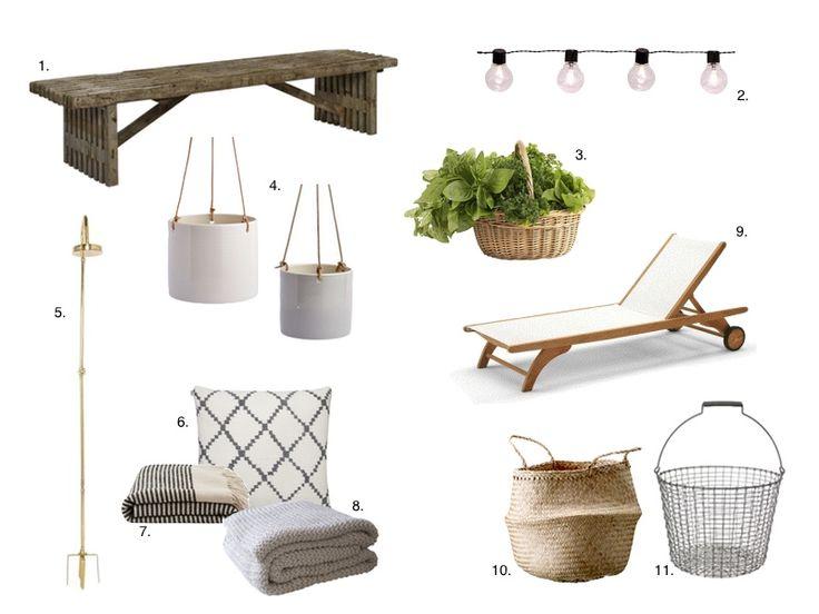 Find inspiration til sommer terrassen med trendy bænk, solbænk, lamper og nips. Inspiration til sommer terassen