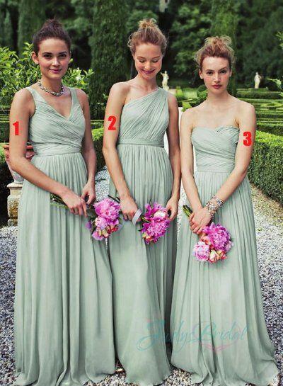 pistachio one shoulder straps ruch detailed chiffon long bridesmaid dress
