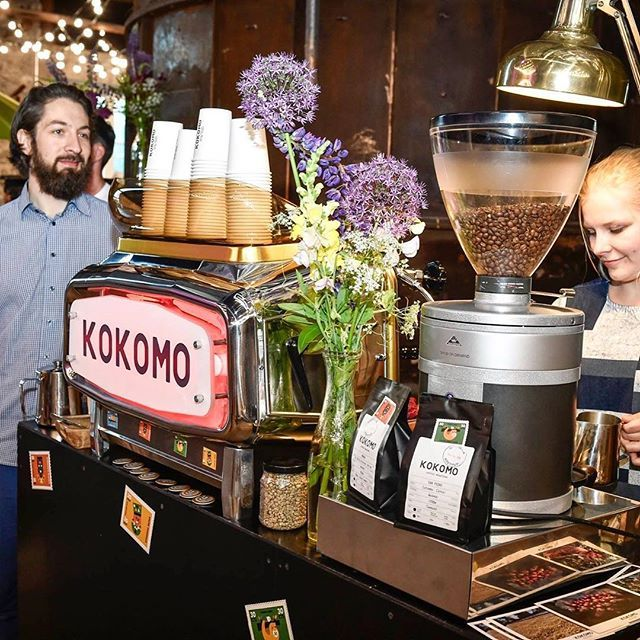 The wonderful baristas of #KokomoCoffee @Brewroland and @kristinnolvak brewed specialty coffee the whole night at the conference #meltfoorum2016 afterparty. Can you imagine the smell of coffee mingling with the scent of lilacs? I can! Finally coffee got the place it deserved on the menu! #☕️ #wefactoryandco  x #conferencefoodistasty