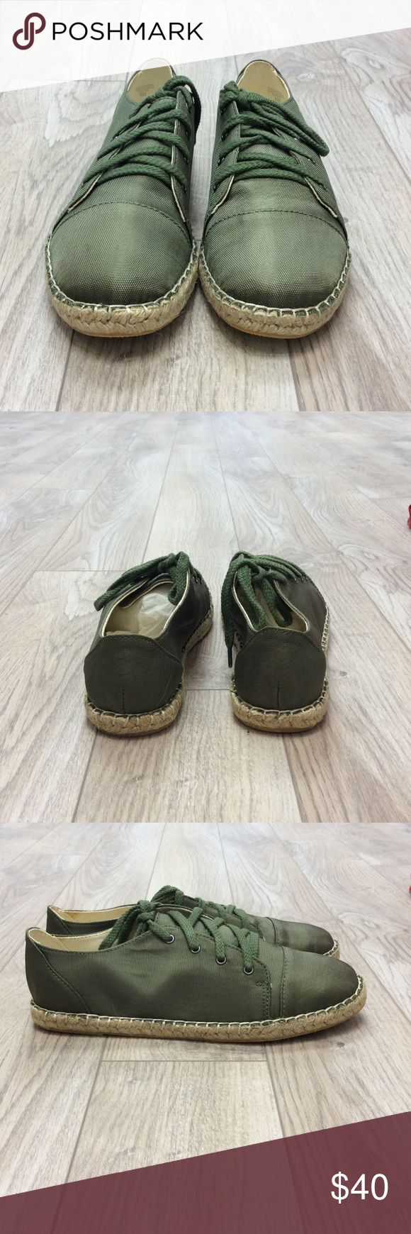 New with box espadrille shoes Army Green fabric Espadrille Shoemint Shoes Espadrilles