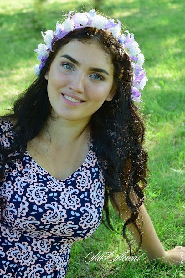 Купить Украшения с цветами для прически и на руку невесты - белый, сиреневый, нежно-сиреневый, белый и сиреневый