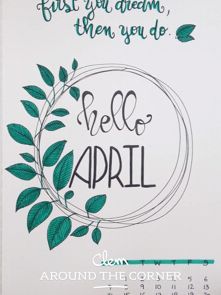BUJO – Monthly Cover : April – Buds Inspiration – Clem Around The Corner