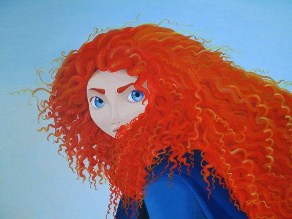 "Custom Acrylic painting Brave Merida, 20""x16""."