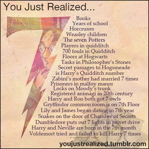 What?!?  One thing to write/plan this but a whole other to realize it . I think JK Rowling had a thing for the number 7.