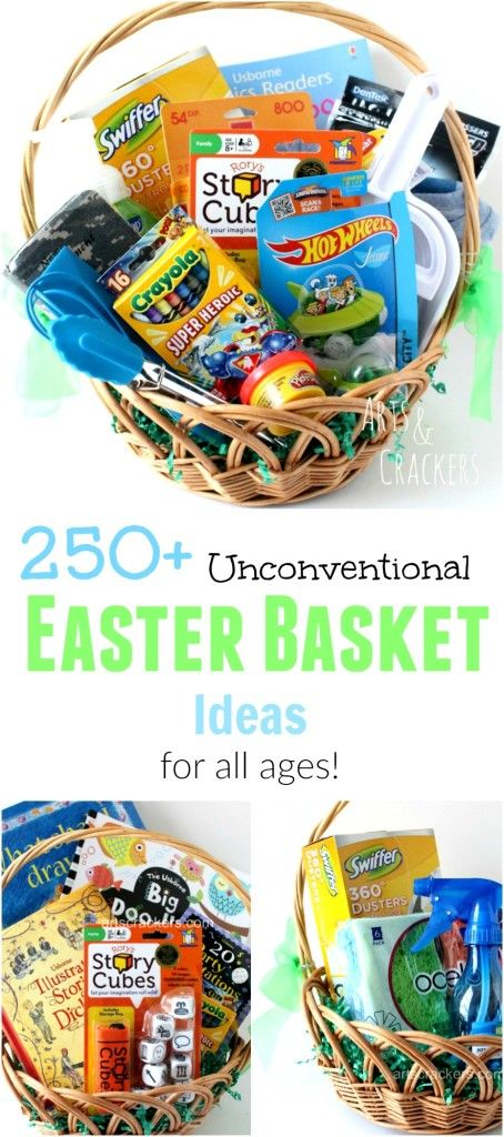 Here is a huge list of over 250 non-candy Easter basket fillers, from Baby's First Easter to Basket Ideas for Craft Lovers!