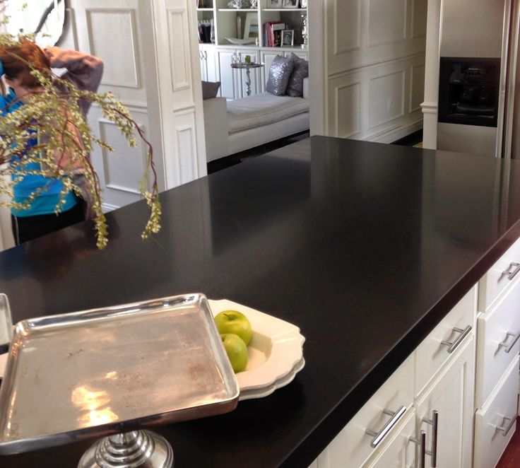 ❤She sealed her granite counter because it was turning lighter in color. Great instructions & best product used.❤ kitchen island, granite, absolute black granite, honed absolute black granite