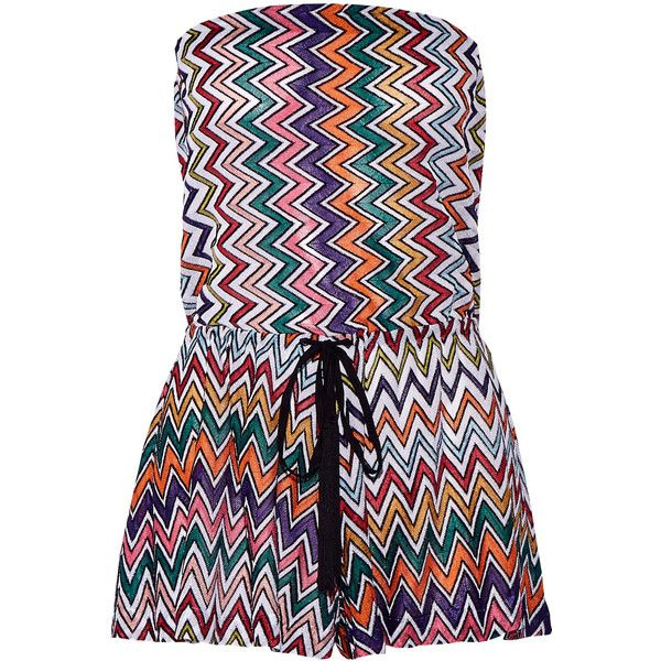 Missoni Metallic crochet-knit playsuit (860 CAD) ❤ liked on Polyvore featuring jumpsuits, rompers, colorful rompers, missoni, strapless rompers, metallic romper and summer rompers