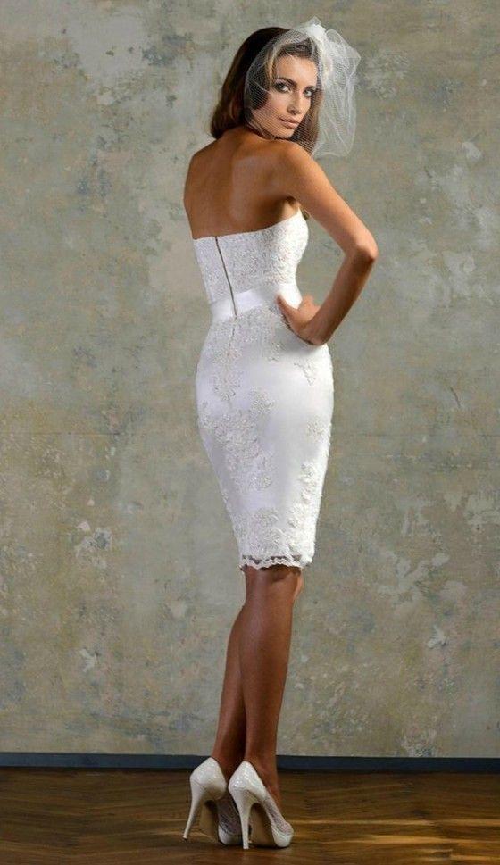 Elegant knee length lace wedding dress for older brides for Wedding dresses for over 50 year olds