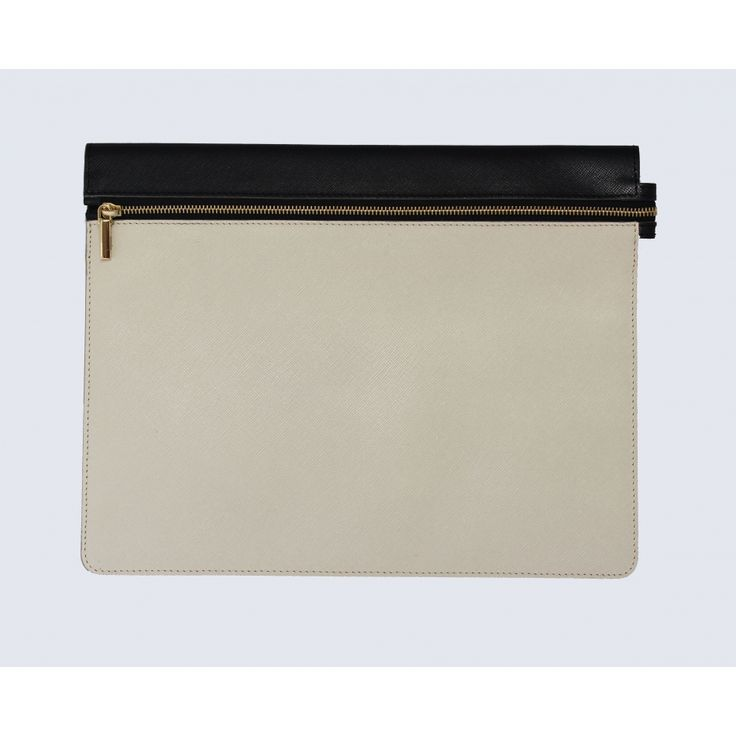 Large taupe/black leather clutch