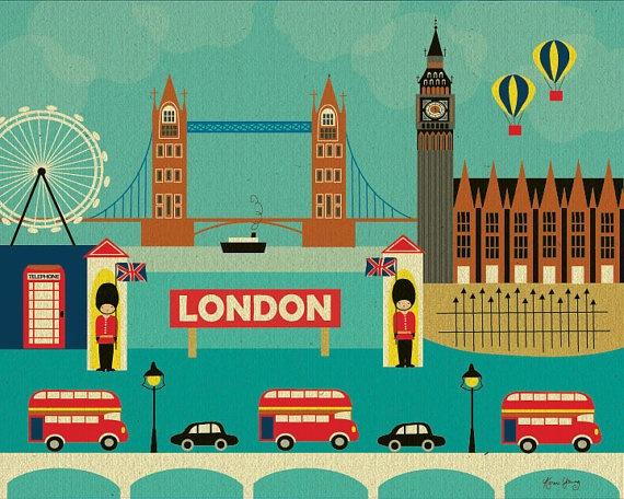 London Landmarks collage print $19.99