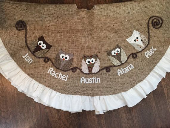 Personalized Owl Tree skirt