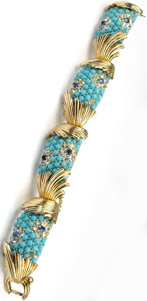 Boucher Gold Sunrays and Pave Turquoise and Sapphire Cabochons Highlights Bracelet