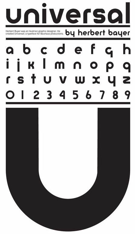 """BAYER => recherche de la typo idéale pour l'ensemble de l'univers. C'est l'esprit du Bauhaus. 1925, """"Alphabet universel"""". Il n'est jamais industrialisé et reste un échec.  Herbert Bayer's universal Alphabet 1925"""