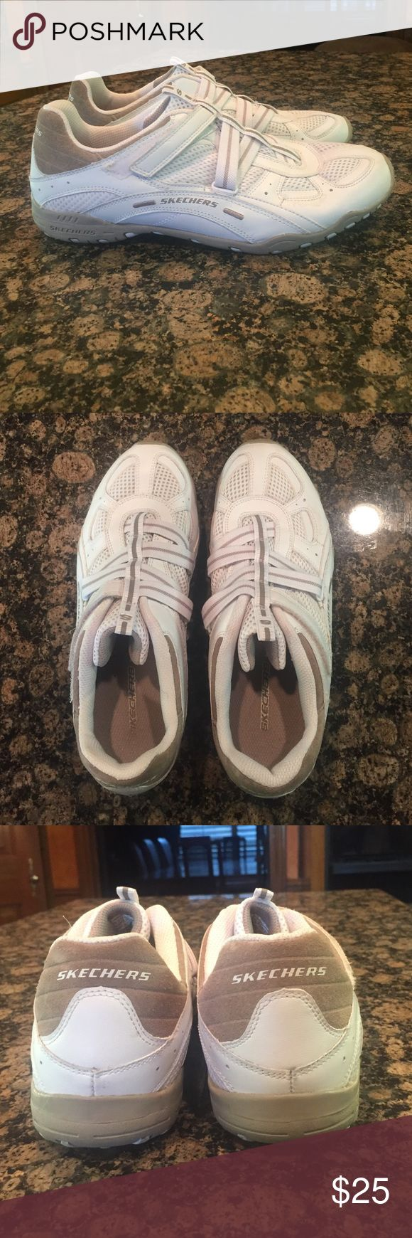 Sketchers tennis shoes Slip on Sketchers tennis shoes with side Velcro to open on side. Good condition and rarely worn. Skechers Shoes Athletic Shoes