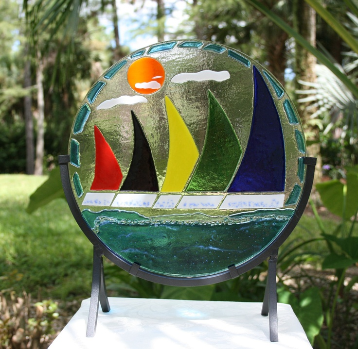 colorful sailboat | REGATTA Art glass fused stained glass home decor sculpture of colorful ...