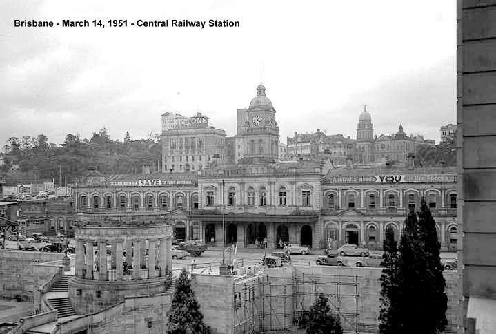 Central Railway Station and Anzac Square, Brisbane, 1951