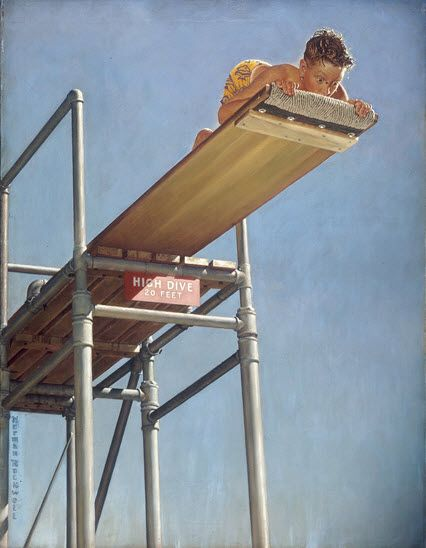 Norman Rockwell: Rockwell Art, Posts Covers, Artnorman Rockwell, Artists Norman, Diving Boards, Art Norman Rockwell, Art Prints, High Diving, Saturday Evening Posts