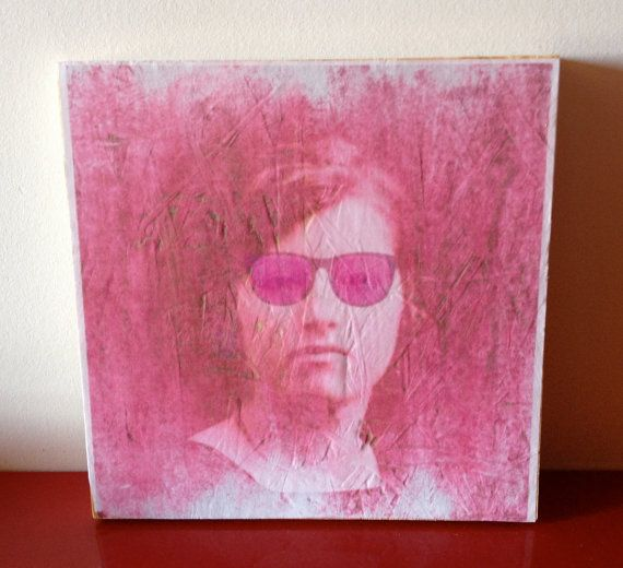 Original Mixed Media Art Wood Transfer Pink by WoodArtMixedMedia