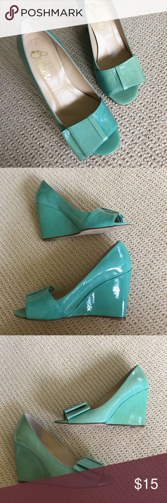 Turquoise wedge by Butter shoes Love these. They were used in a sunny display window and the top and outsides faded a bit, while the inside stayed true turquoise. They actually have a cool ombré look now. Worn once. Comes in original box. Made in Italy by Butter. Butter Shoes Shoes Wedges