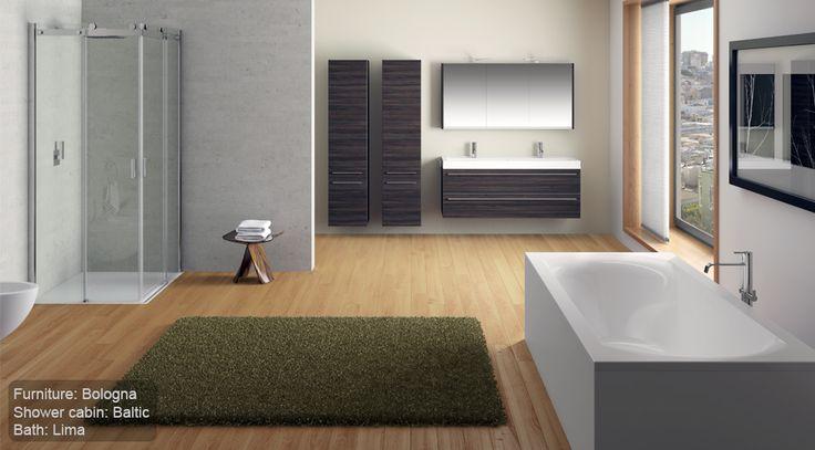 Современный дизайн большой и совмещенной ванной комнаты с панорамными окнами. #большая_ванная_комната #современный_дизайн_ванной_комнаты #сомещенная_ванная_комната