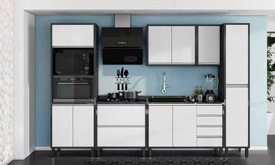 Cozinha Modulada Completa 6 Módulos Suprema Chumbo/Lineo - Bela Flex