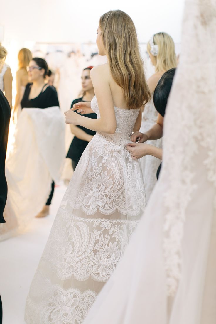 Backstage at Reem Acra Bridal Fall 2016. / Photo: The LANE. Full collection… http://thelane.com/Backstage/post/2015-10-12-reem-acra-bridal-fall-2016