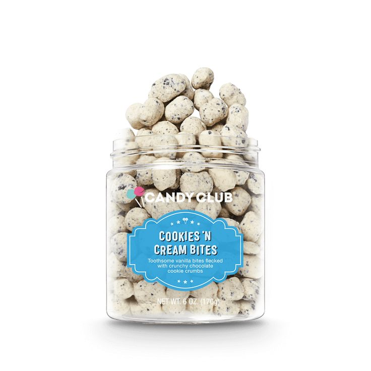 Have your milk and cookies, too in these fanciful bite-sized delights, made with a taste of cream and flecked with crunchy cocoa cookie bits. Sweet Birthday Cake, Birthday Cake Flavors, Cocoa Cookies, Candy Cookies, All Candy, Candy Jars, Sour Belts, Gourmet Candy, Candy Companies