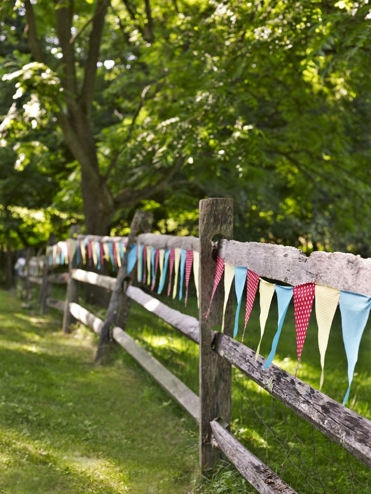 split rail fence and bunting