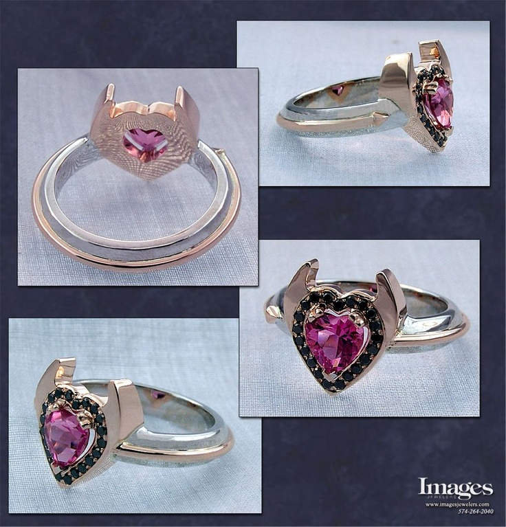 For your bad side. This ring was crafted in 14k rose and white gold and contains a hot pink heart shaped sapphire center with black diamonds around it.  #customjewelry #imagesjewelers #rosegold #heart #devilish #pink