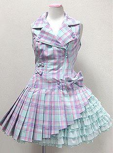 Angelic Pretty / Jumper Skirt / Macaron Tartan Rider's JSK