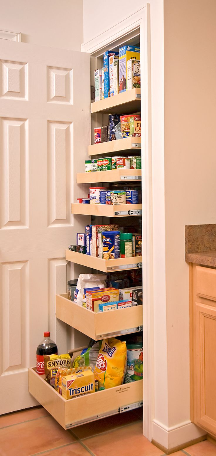 Slide out drawers replaces shelving, for convenient, easy access.