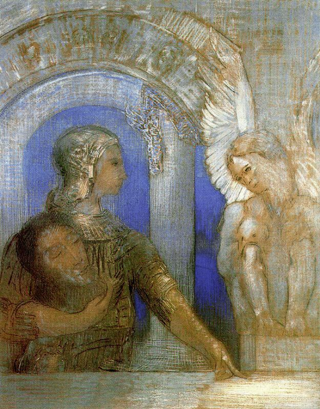 Odilon Redon ~ Mystical Knight/ Oedipus and the Sphinx, 1869