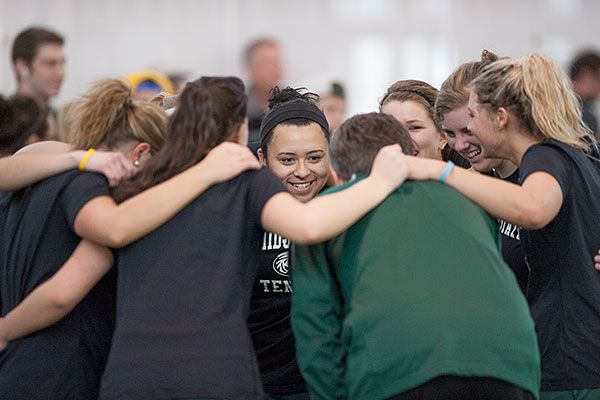 The BSU tennis team huddled prior to a 5-4 victory over Minnesota Duluth Feb. 15, 2014. See the entire photo gallery: http://www.bsubeavers.com/multimedia/photogallery/2014/496/