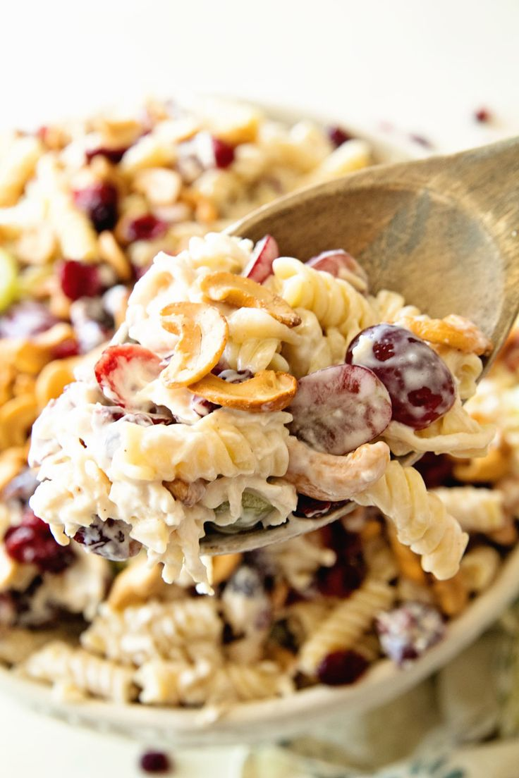 Cashew Chicken Rotini Salad ~ Loaded with Cashews, Grapes, Chicken, Pasta and Dried Cranberries! Perfect Pasta Salad Recipe for the Summer! ~ http://www.julieseatsandtreats.com