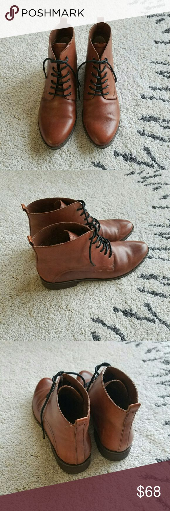 Leather Lace-Up Boots Gorgeous brown leather lace-up boots from Seychelles. Display pair, never been worn outside. A few minor scratches, but otherwise like new! Seychelles Shoes Ankle Boots & Booties