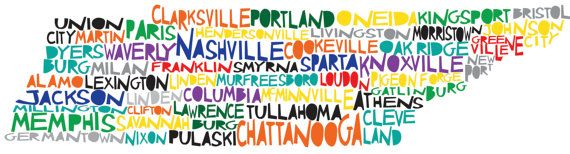 TENNESSEE Digital Illustration Print of Tennessee State with Cities Listed. $15.00, via Etsy.