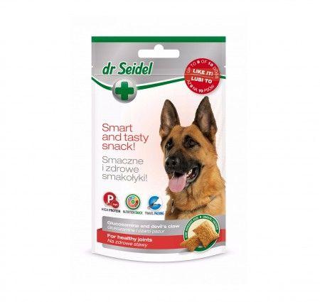 dr Seidel Smakołyki dla psów na zdrowe stawy. Smakołyki dla psów narażonych na choroby stawów, seniorów oraz szczeniąt ras dużych. Wzbogacone o glukozaminę i czarci pazur. Glukozamina to naturalna substancja regenerująca stawy i odbudowująca chrząstkę. Czarci pazur (Harpagophytum) stosowany jest we wspomaganiu leczenia chorób reumatycznych, a także w likwidowaniu bólu mięśni i stawów. Produkt dostępny w poręcznym opakowaniu ze strunowym zamknięciem.