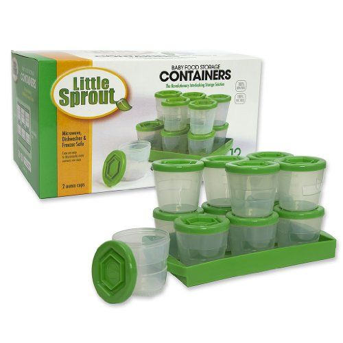Baby Food Containers: Reusable Stackable Freezer Safe Storage Cups w/ Tray & Dry-erase Marker (Set of 12 - 2oz) BPA & PVC Free - Cool Kitchen Gifts