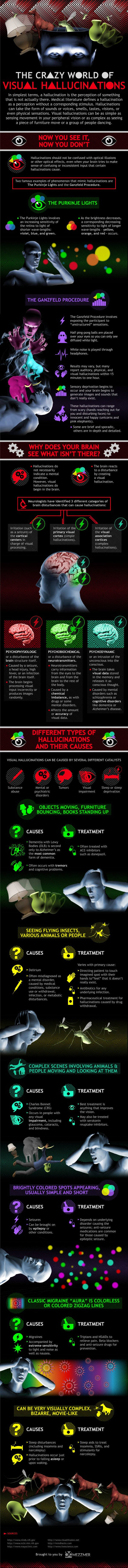 Here's a pretty cool infographic on hallucinations for ya'll. We're not just talking hallucinations due to drugs rather what happens when our mind's play tricks on us. Enjoy today's infographic, it's pretty damn cool.